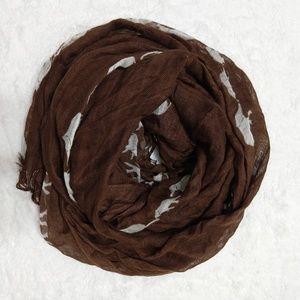 Coldwater Creek elephant print brown sheer scarf